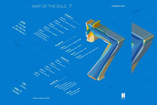 防弹少年团2月21日发行全新专辑《MAP OF THE SOUL:7》