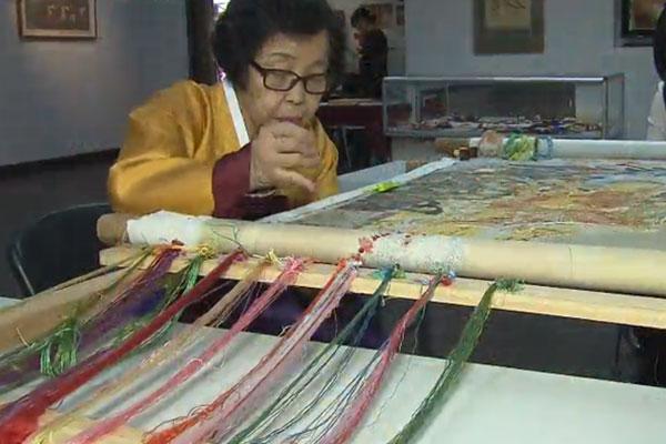 Han Sang-soo, brodeuse et trésor national de Corée