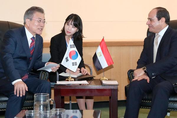 اجتماع القمة بين الرئيس مون جيه إين والرئيس عبد الفتاح السيسي في نيويورك