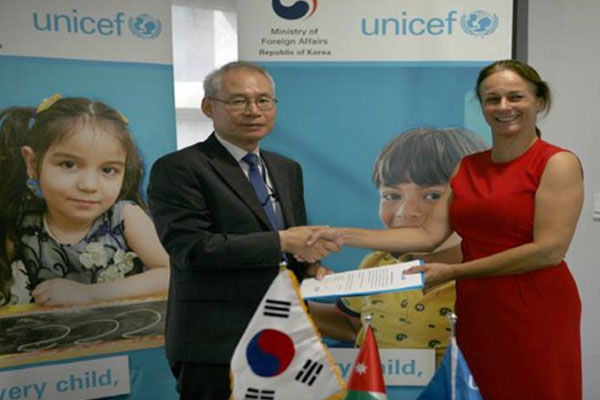 الحكومة الكورية تقدم منحة بمليون دولار لفائدة مشاريع اليونيسف في الأردن