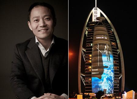 إعلان عن هاتف غالاكسي ثمانية الجديد عبر جدار فندق برج العرب