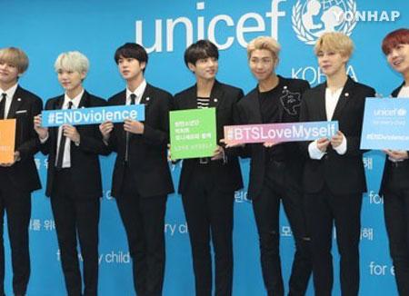 防弹少年团携手联合国儿童基金会全球募捐 募捐额破6亿韩元
