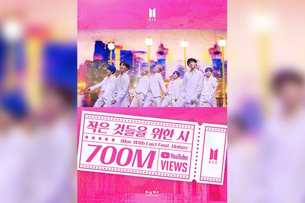 """""""Boy With Luv"""" của BTS cán mốc 700 triệu view"""