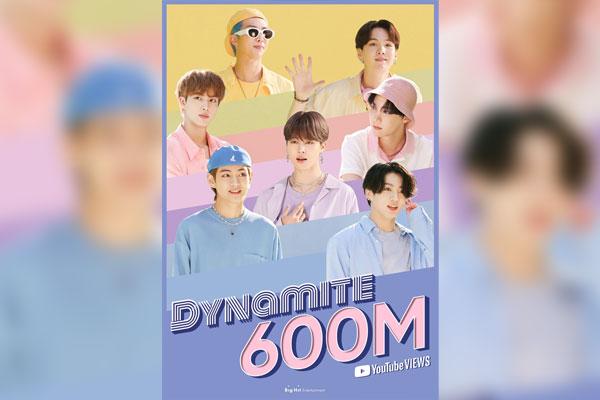 تجاوز عدد مرات مشاهدة الفيديو الموسيقي لأغنية دينامايت 600 مليون