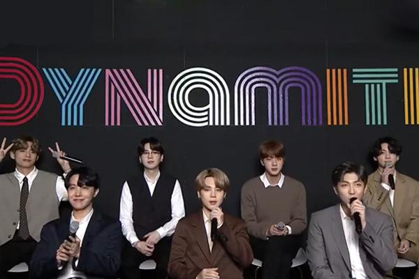 '그래미 후보' BTS 다이너마이트, 빌보드서 '역주행'