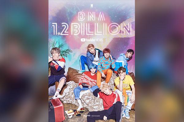 BTS MV for 'DNA' surpasses 1.2 bln YouTube views