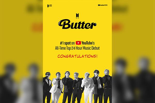 أغنية زبدة لبي تي إس تحقق 100 مليون مشاهدة في أول 21 ساعة من إصدارها