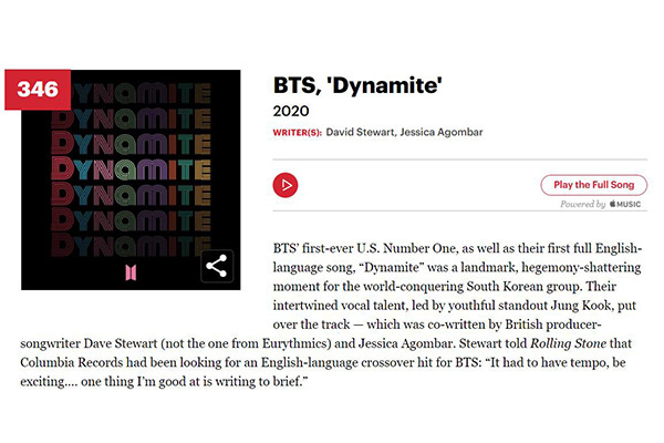 'Dynamite' makes Rolling Stone's list of 500 greatest songs
