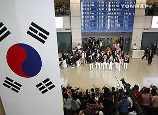 J.O. de Londres : retour en fanfare à Séoul des athlètes sud-coréens