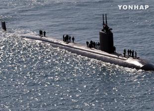 米原子力潜水艦 韓国鎮海港に寄港