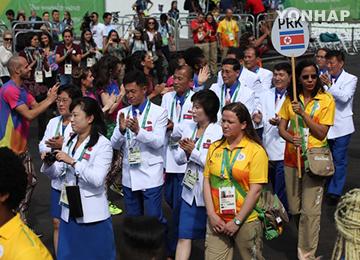 المنتخب الكوري يقيم مراسم خاصة في قرية اللاعبين في ريو
