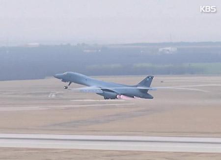 미국 전략폭격기 B-1B 한반도 상공에서 연합훈련 실시