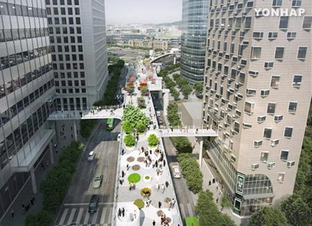ソウル駅前の高架道路 「空の公園」として20日にオープン