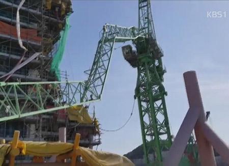 三星重工業の造船所でクレーンが転倒 6人死亡