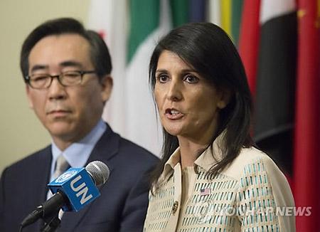 """헤일리 미국 유엔대사 """"북한 핵·미사일 실험 중단하면 대화용의"""""""