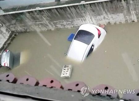 忠清北道で集中豪雨 300ミリ超