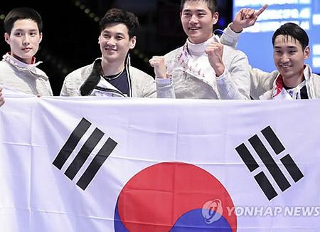 Corea del Sur gana el oro en sable de equipo masculinos