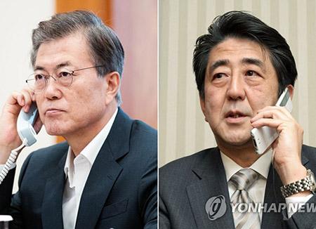 Presiden Moon dan PM Abe Bahas Kerja Sama untuk Menekan Korea Utara