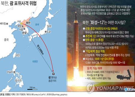 """북한,'전면전' 위협...""""화성-12로 괌 포위사격방안 검토"""""""