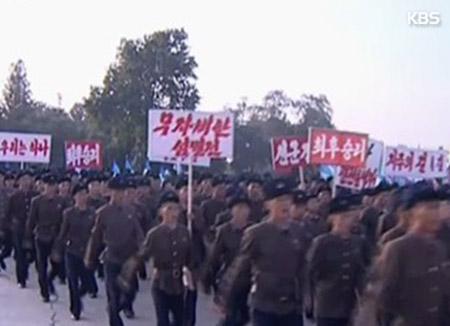 Soldatenversammlung in Nordkorea für Einsatz für Kampfvorbereitung