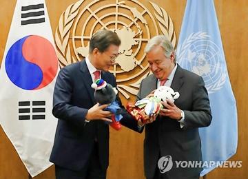 Moon llega a Nueva York y se reúne con el secretario general de la ONU