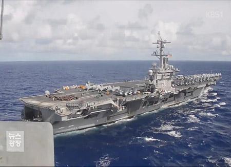 미국 항모·핵잠수함 한반도 집결