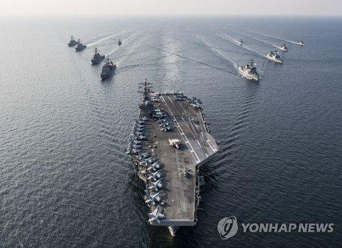 Korean warships train with three USA aircraft carriers in East Sea