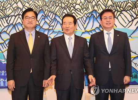 '반쪽'된 원내대표 회동…'홍종학 청문보고서' 평행선