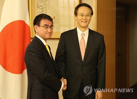 新駐日大使と河野外相が会談 韓日関係発展に努力