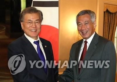 Moon, Singaporean Prime Minister Lee Discuss Bilateral Ties