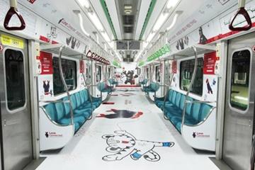 平昌五輪のテーマ列車 ソウル地下鉄2号線にお目見え