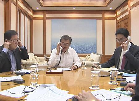 الرئيس الكوري يجري اتصالا هاتفيا بنظيره الأمريكي