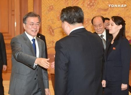 Le président Moon reçoit la délégation nord-coréenne de haut rang à la Cheongwadae