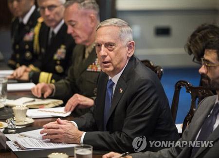 """매티스 """"올림픽 남북교섭이 한반도평화 이끌거라 말하긴 일러"""""""