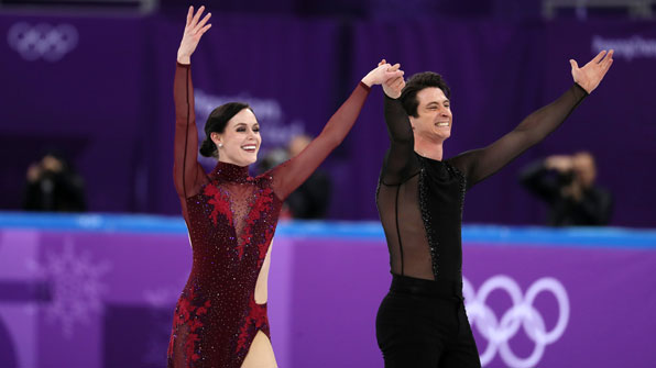 Virtue and Moir tops in ice dancing after short dance