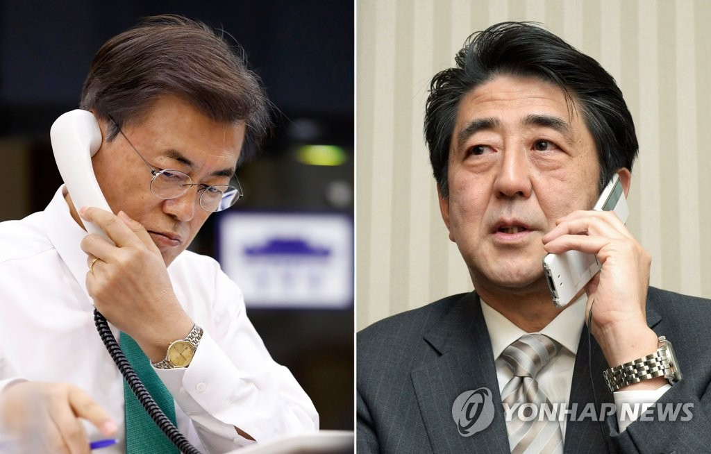 Moon, Abe: Trilateral Coordination Needed to Keep Pressure on N. Korea