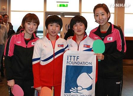 世界卓球で韓国と北韓が合同チームを結成
