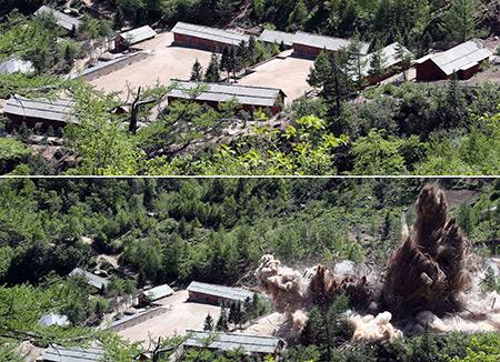 核実験場の坑道爆破   北韓が公式発表