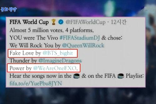 Zwei K-Pop-Lieder als Hintergrundmusik bei Halbfinalspielen der Fußball-WM ausgewählt