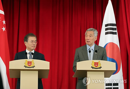 S. Korea, Singapore Vow to Boost Economic, Diplomatic Cooperation