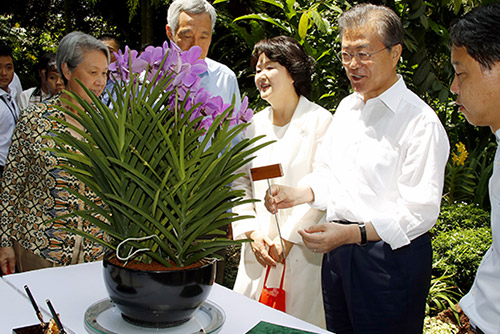 Singapore Names Orchid after Moon, First Lady Kim