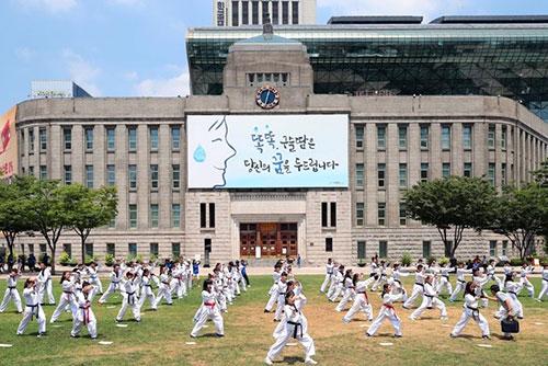 폭염도 막지 못한 열정…세계청소년, 서울광장서 태권도 시연