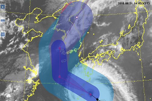 La Corée du Sud sous la menace du typhon Soulik