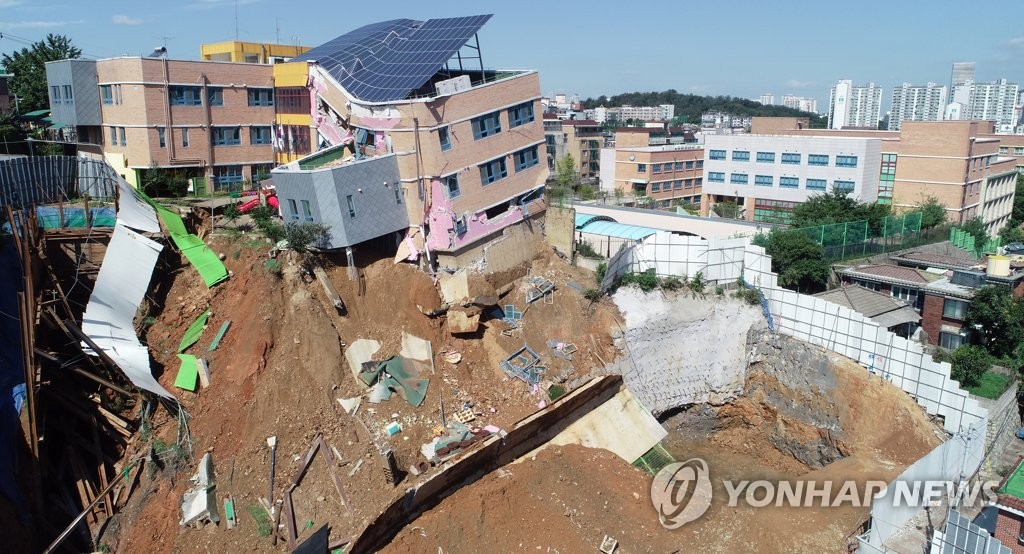 Kindergarten Tilts after Retaining Wall Collapses