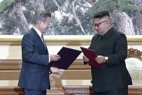 敵対関係を根本的に解消 南北軍事分野合意書