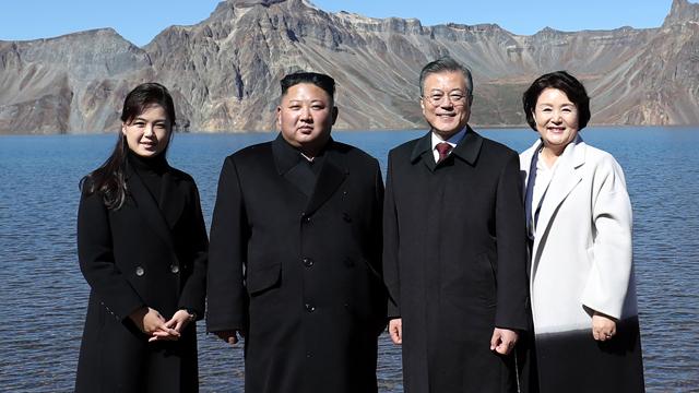 Moon and Kim Highlight Korean Unity at Mt. Baekdu