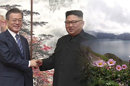Staatschefs beider Koreas am Kratersee Chunji am Berg Baekdu