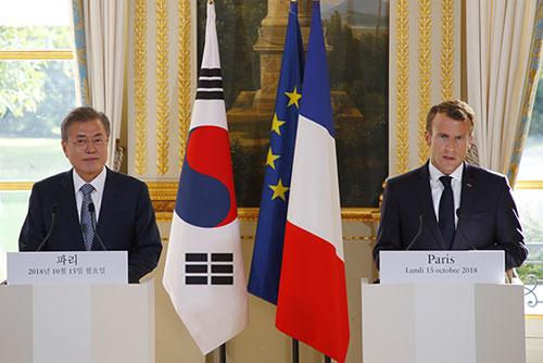 韓仏首脳会談 26項目の共同宣言採択