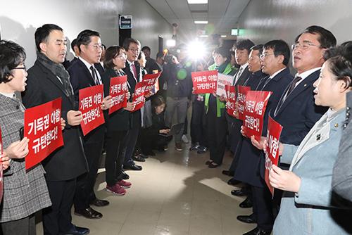 """바른미래당·평화당·정의당 """"예산안 강행처리는 기득권 야합이자 날치기"""""""