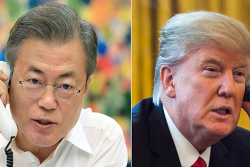 韓米首脳が電話会談 米朝首脳会談の成功に向けた協力を議論